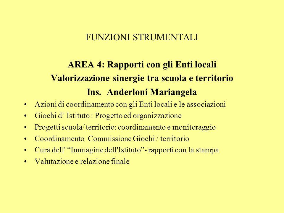 FUNZIONI STRUMENTALI AREA 4: Rapporti con gli Enti locali Valorizzazione sinergie tra scuola e territorio Ins.