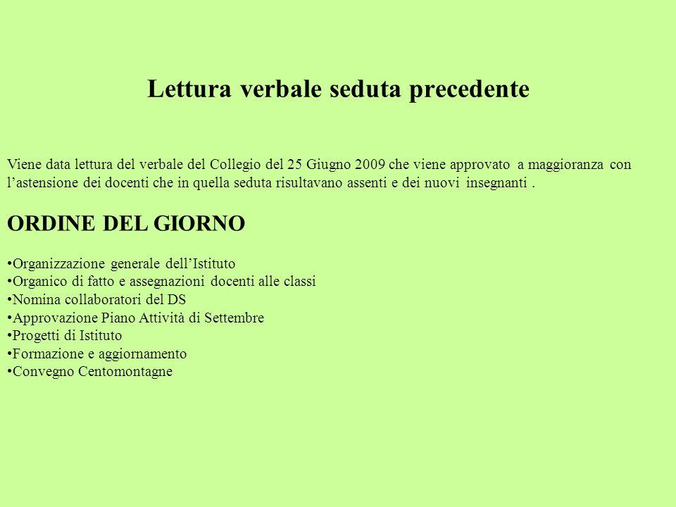Collegio Docenti 1 Settembre 2009