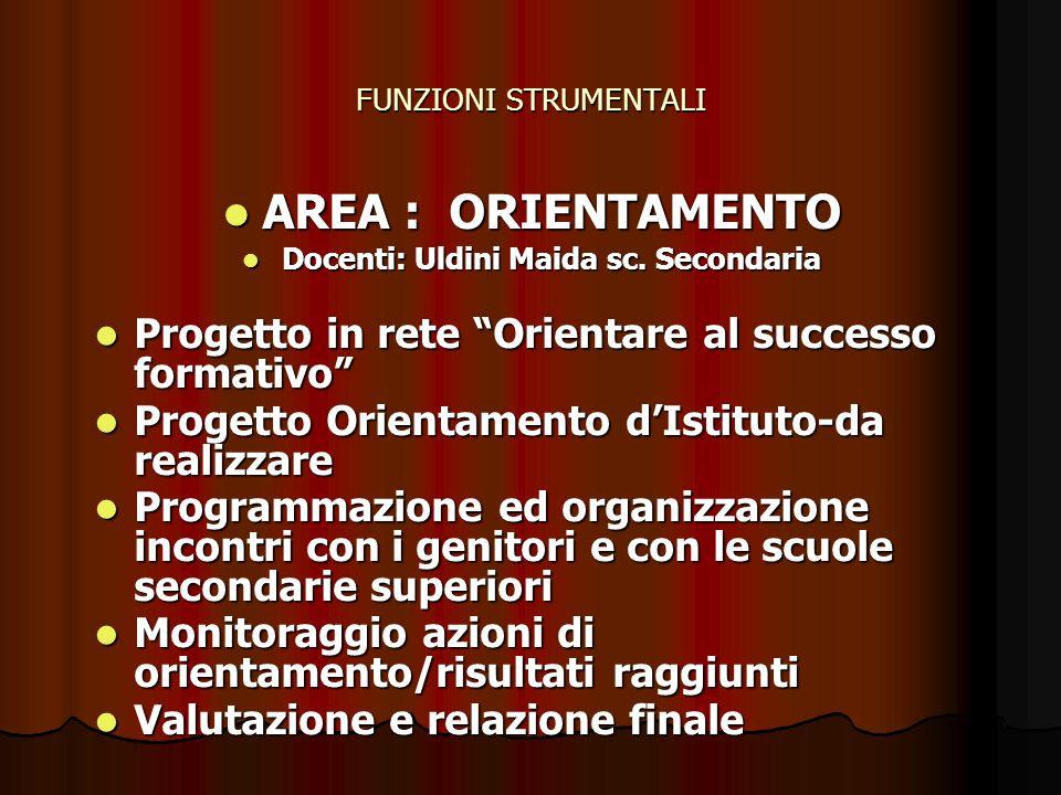 FUNZIONI STRUMENTALI AREA : CONTINUITAe ORIENTAMENTO AREA : CONTINUITAe ORIENTAMENTO Maccaccaro Luisa sc.