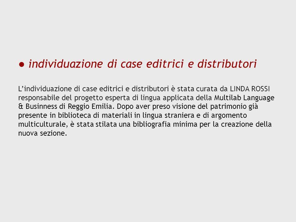 individuazione di case editrici e distributori Lindividuazione di case editrici e distributori è stata curata da LINDA ROSSI responsabile del progetto