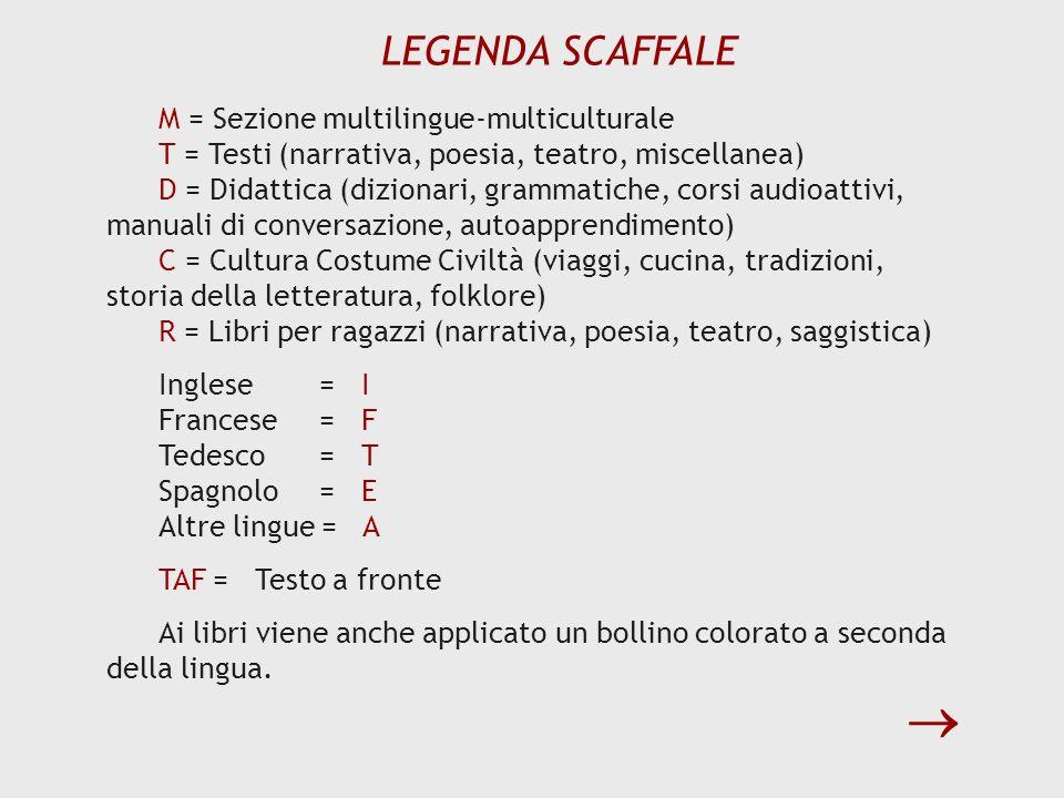LEGENDA SCAFFALE M = Sezione multilingue-multiculturale T = Testi (narrativa, poesia, teatro, miscellanea) D = Didattica (dizionari, grammatiche, cors