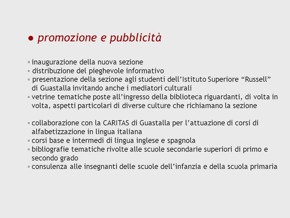 promozione e pubblicità inaugurazione della nuova sezione distribuzione del pieghevole informativo presentazione della sezione agli studenti dellIstit