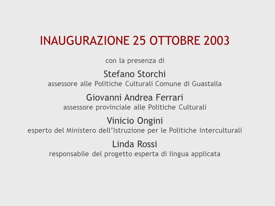 INAUGURAZIONE 25 OTTOBRE 2003 con la presenza di Stefano Storchi assessore alle Politiche Culturali Comune di Guastalla Giovanni Andrea Ferrari assess