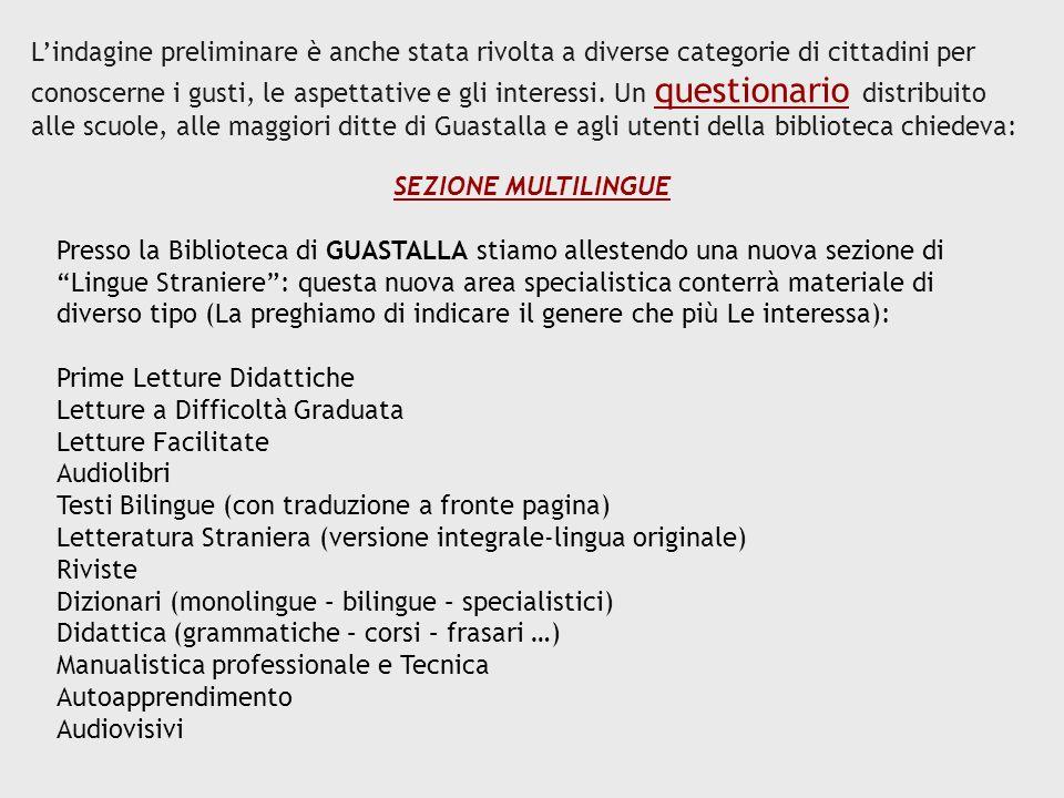 LO SCAFFALE MULTICULTURALE La presente scheda si propone di far partecipare direttamente Lei, o coloro che rappresenta, alla scelta del materiale che andrà a formare lo scaffale dedicato alle culture dei popoli stranieri che vivono nella Provincia di Reggio Emilia.