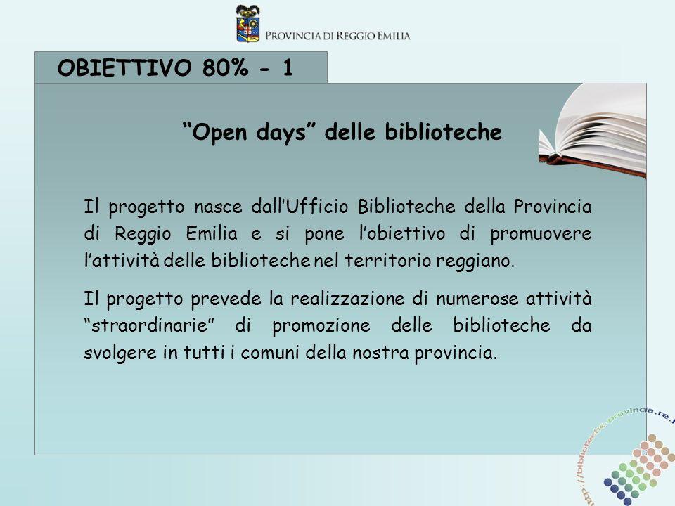 OBIETTIVO 80% - 1 Il progetto nasce dallUfficio Biblioteche della Provincia di Reggio Emilia e si pone lobiettivo di promuovere lattività delle biblioteche nel territorio reggiano.