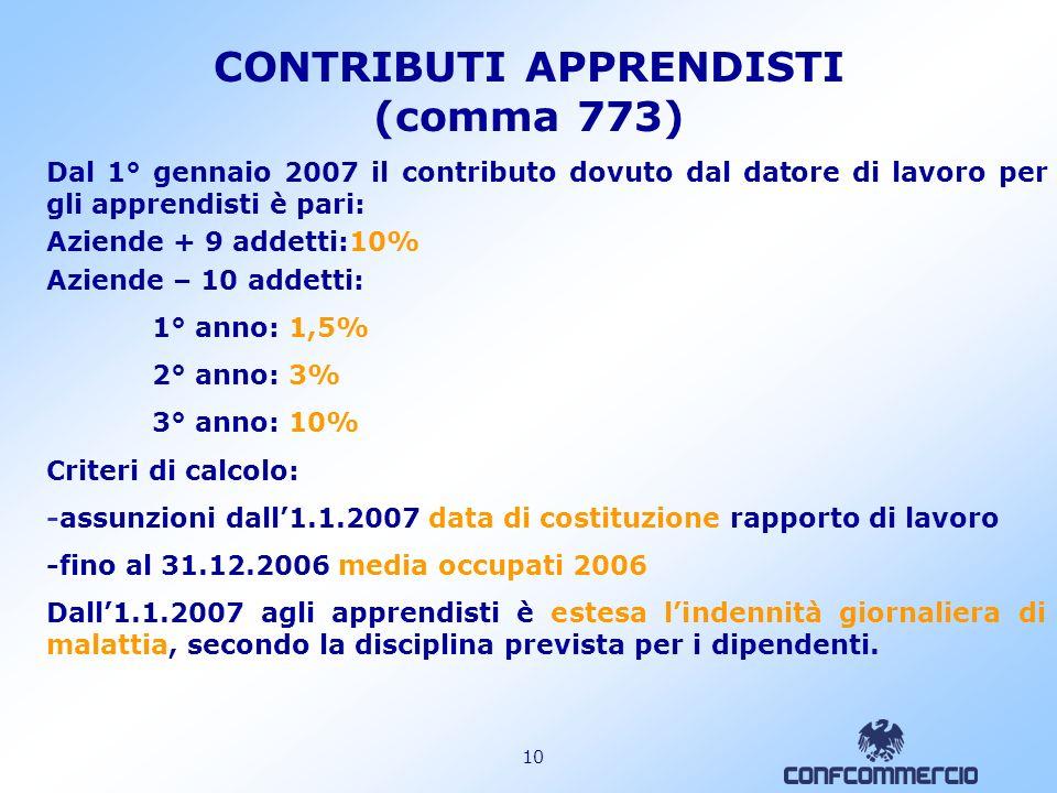 9 CONTRIBUTI PARASUBORDINATI (commi 770 e 772) 2/2 2) Compenso Per la misura si fa riferimento al compenso netto mensile all1.1.2007, in quanto lincre