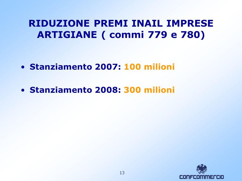12 RIDUZIONE PREMI INAIL IMPRESE AUTOTRASPORTO ( comma 917) Stanziamento di ulteriori 54 milioni euro Riduzione premi INAIL dovuti dalle imprese di au