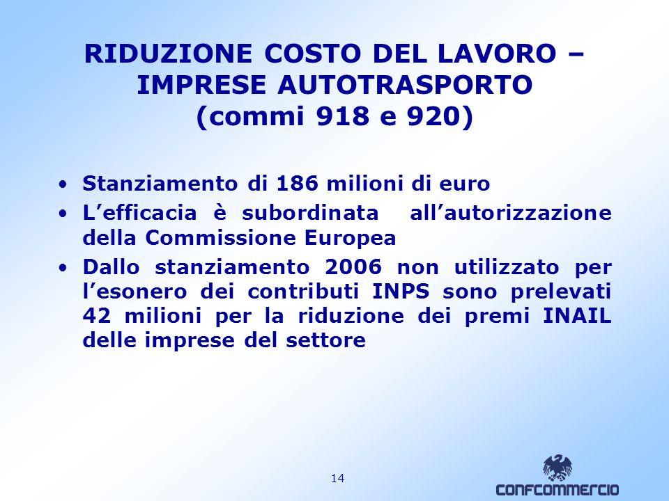 13 RIDUZIONE PREMI INAIL IMPRESE ARTIGIANE ( commi 779 e 780) Stanziamento 2007: 100 milioni Stanziamento 2008: 300 milioni