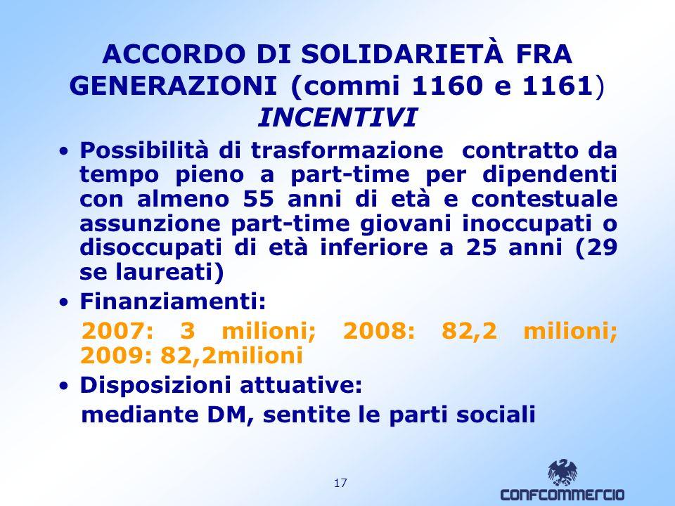 16 PROROGA CIGS ED INDENNITA MOBILITA (comma 1156 lettera c) Proroga fino al 31.12.2007 della CIGS e dellindennità di mobilità Settori beneficiari: Az