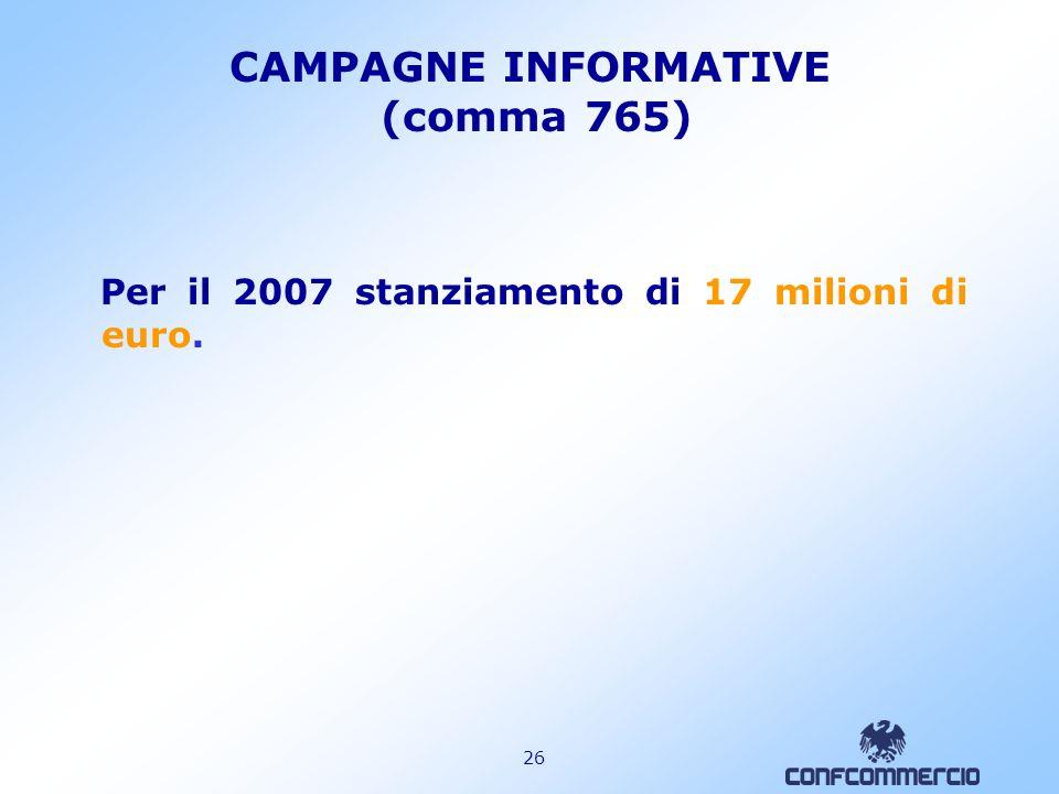 25 SMOBILIZZO TFR COSTO COMPLESSIVO PER IMPRESE (in milioni di euro) FLUSSI TFR: - TFR AGGIUNTIVO AI FONDI PENSIONE 5.518 - TFR AZIENDA 5.754 - TFR IN