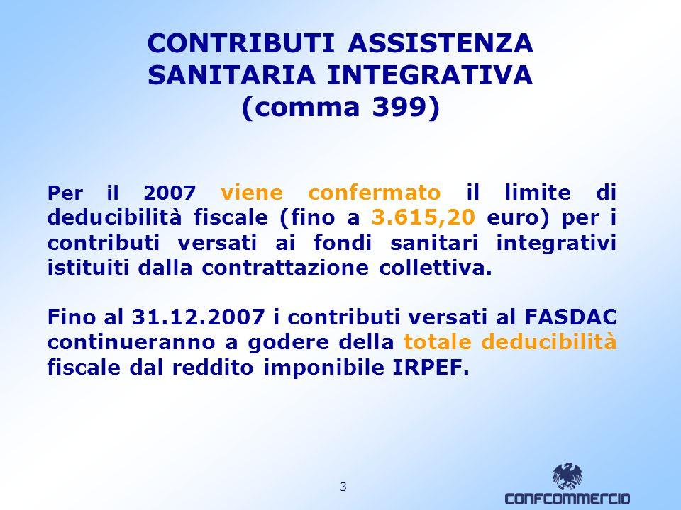 3 CONTRIBUTI ASSISTENZA SANITARIA INTEGRATIVA (comma 399) Per il 2007 viene confermato il limite di deducibilità fiscale (fino a 3.615,20 euro) per i contributi versati ai fondi sanitari integrativi istituiti dalla contrattazione collettiva.