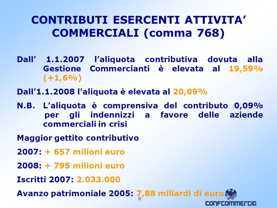 6 CONTRIBUTI ESERCENTI ATTIVITA COMMERCIALI (comma 768) Dall 1.1.2007 laliquota contributiva dovuta alla Gestione Commercianti è elevata al 19,59% (+1,6%) Dall1.1.2008 laliquota è elevata al 20,09% N.B.