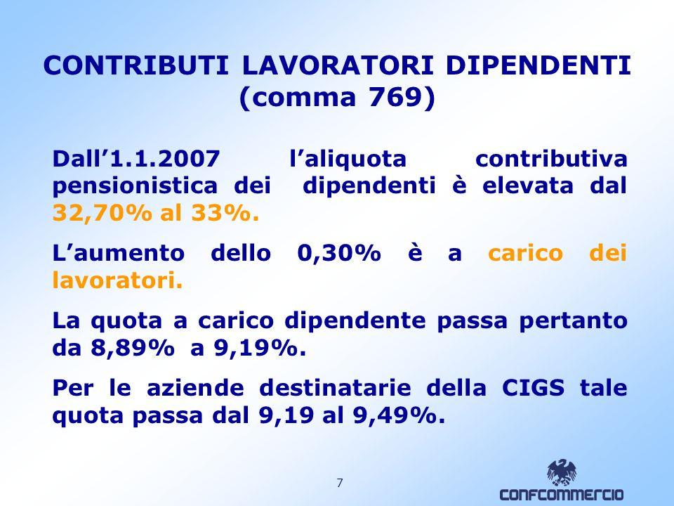 6 CONTRIBUTI ESERCENTI ATTIVITA COMMERCIALI (comma 768) Dall 1.1.2007 laliquota contributiva dovuta alla Gestione Commercianti è elevata al 19,59% (+1