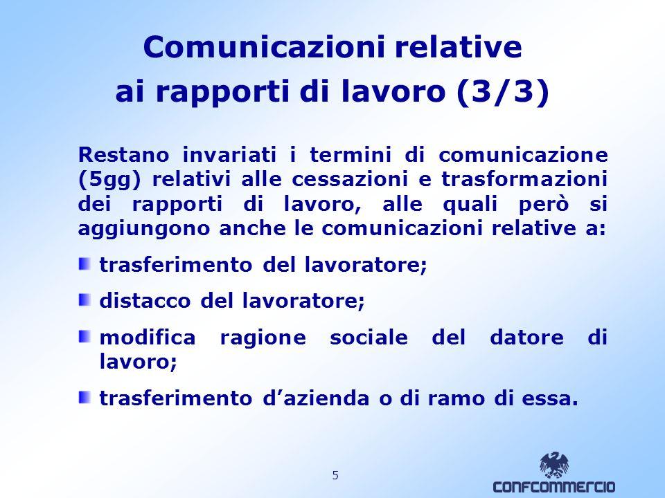 4 Comunicazioni relative ai rapporti di lavoro (2/3) Lobbligo fa capo indistintamente a tutti i datori di lavoro pubblici e privati.