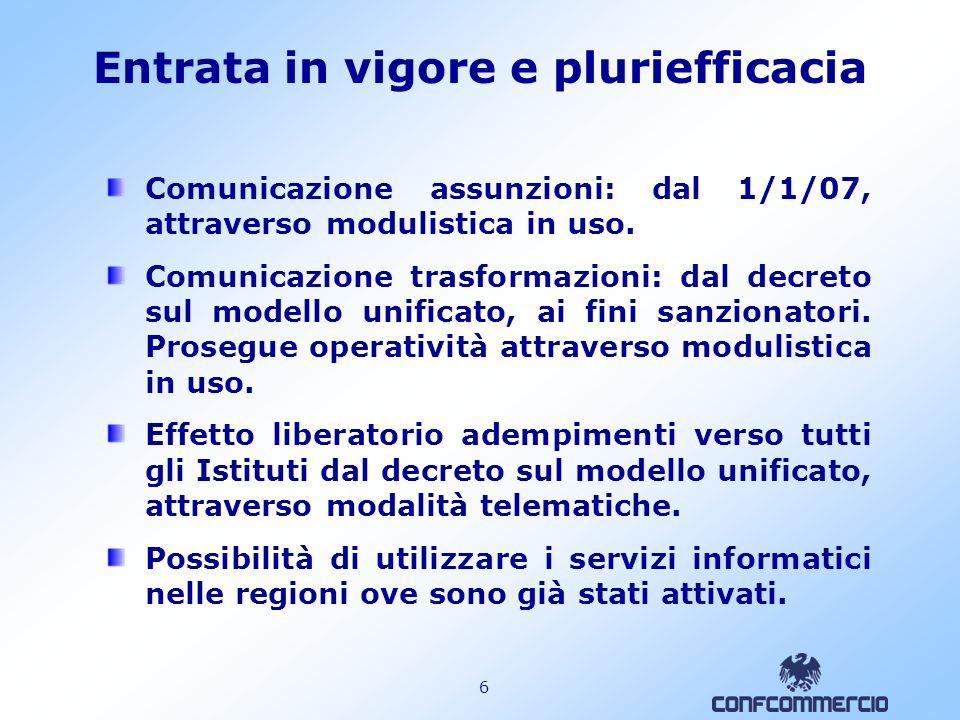 6 Entrata in vigore e pluriefficacia Comunicazione assunzioni: dal 1/1/07, attraverso modulistica in uso.