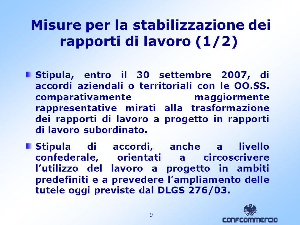9 Misure per la stabilizzazione dei rapporti di lavoro (1/2) Stipula, entro il 30 settembre 2007, di accordi aziendali o territoriali con le OO.SS.