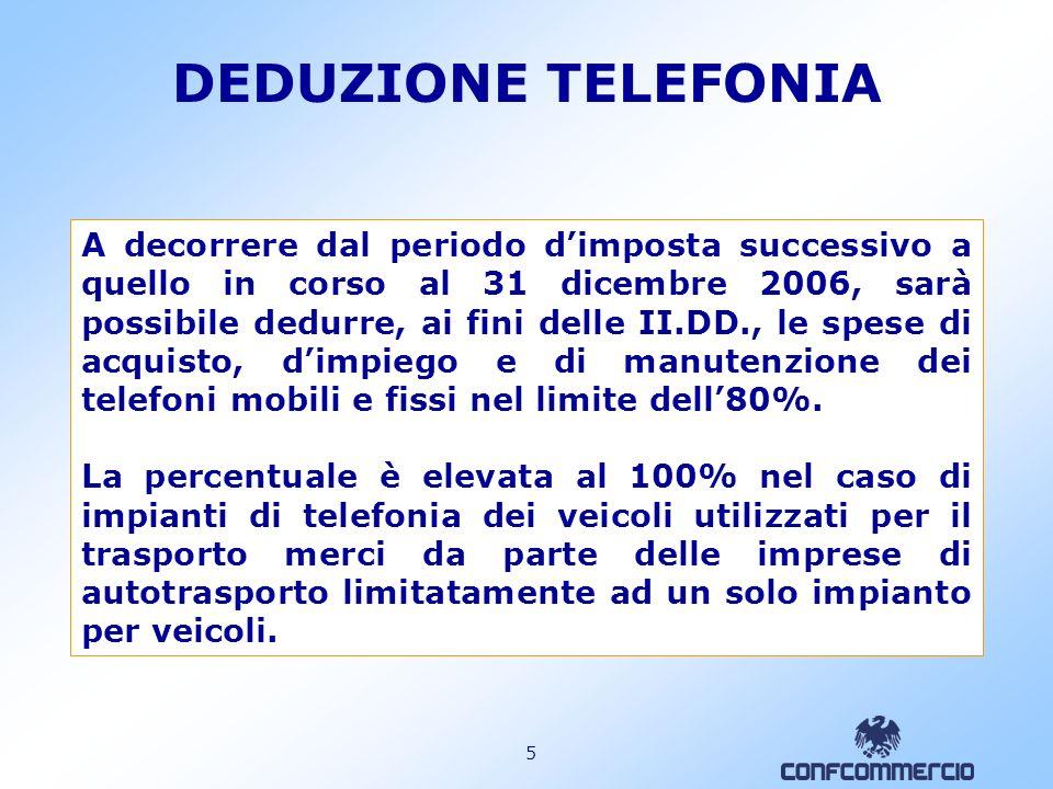 5 A decorrere dal periodo dimposta successivo a quello in corso al 31 dicembre 2006, sarà possibile dedurre, ai fini delle II.DD., le spese di acquisto, dimpiego e di manutenzione dei telefoni mobili e fissi nel limite dell80%.