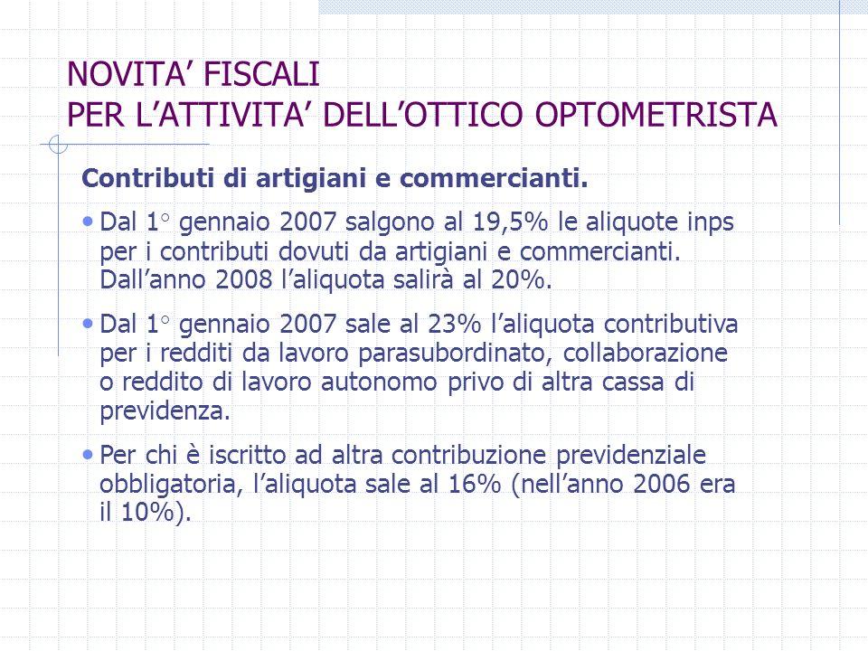 NOVITA FISCALI PER LATTIVITA DELLOTTICO OPTOMETRISTA Contributi di artigiani e commercianti.