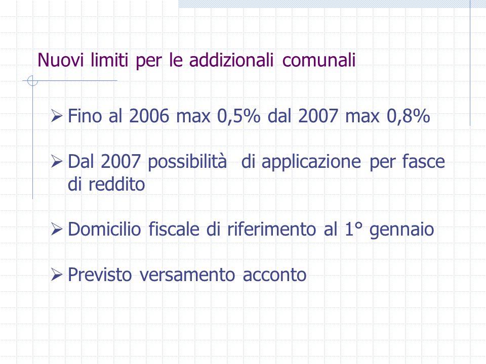 Nuovi limiti per le addizionali comunali Fino al 2006 max 0,5% dal 2007 max 0,8% Dal 2007 possibilità di applicazione per fasce di reddito Domicilio fiscale di riferimento al 1° gennaio Previsto versamento acconto