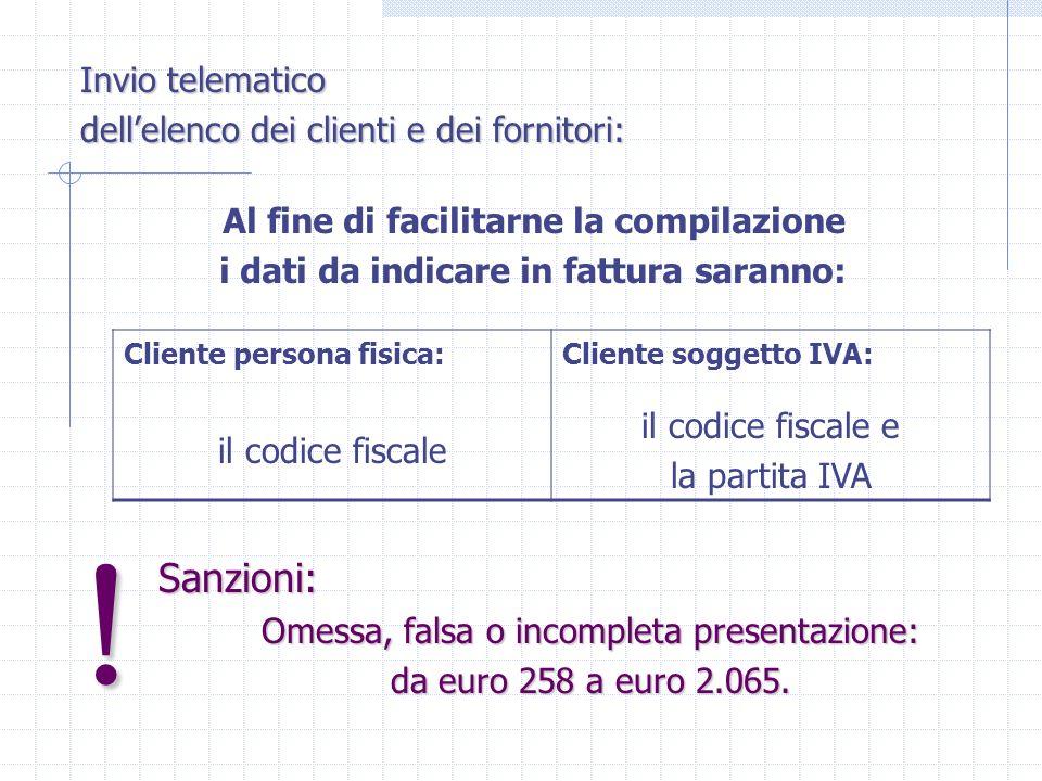 Sanzioni: Omessa, falsa o incompleta presentazione: da euro 258 a euro 2.065.