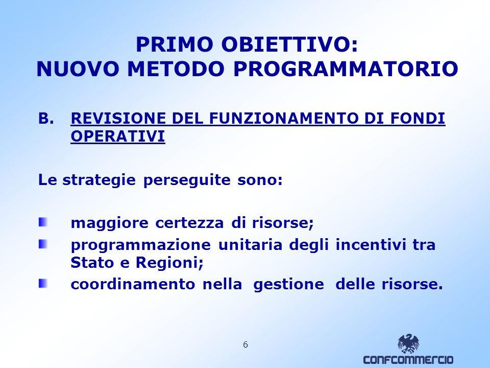 5 PRIMO OBIETTIVO: NUOVO METODO PROGRAMMATORIO B.REVISIONE DEL FUNZIONAMENTO DI FONDI OPERATIVI utilizzo del Fondo Aree Sottoutilizzate per cofinanziare la programmazione 2007- 2013 (comma 863) + nuova dotazione pari a più di 64 mld di euro complessivi; estensione del Fondo rotativo per le imprese agli interventi agevolativi regionali (comma 855).