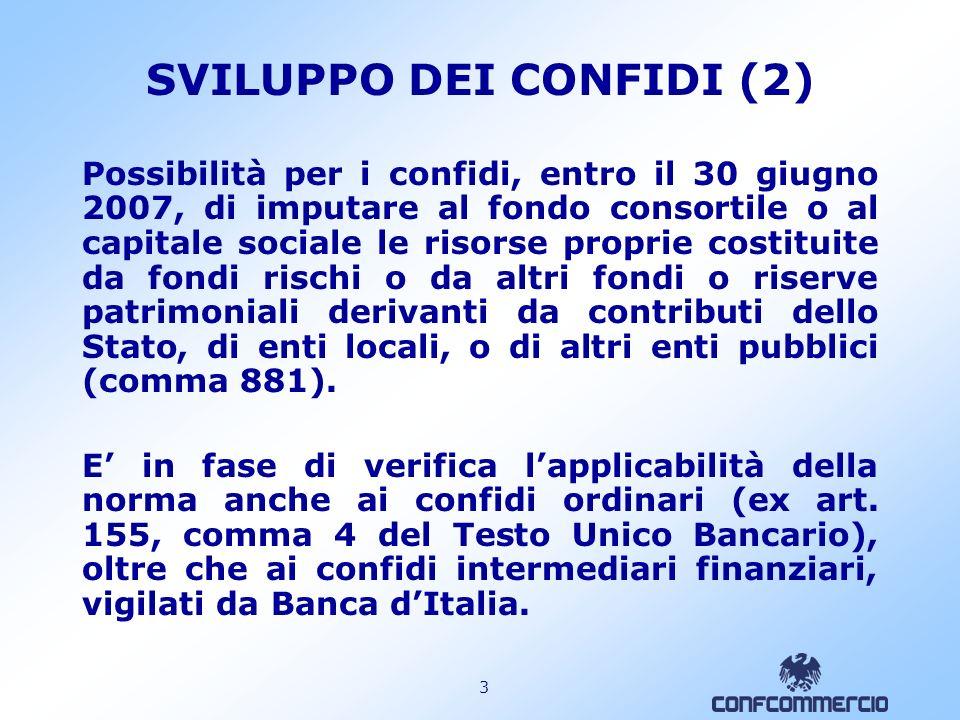 2 SVILUPPO DEI CONFIDI (1) I fondi di garanzia interconsortile istituiti dalla legge quadro confidi (l. 326/03, art.13, comma 20) possono essere ora d
