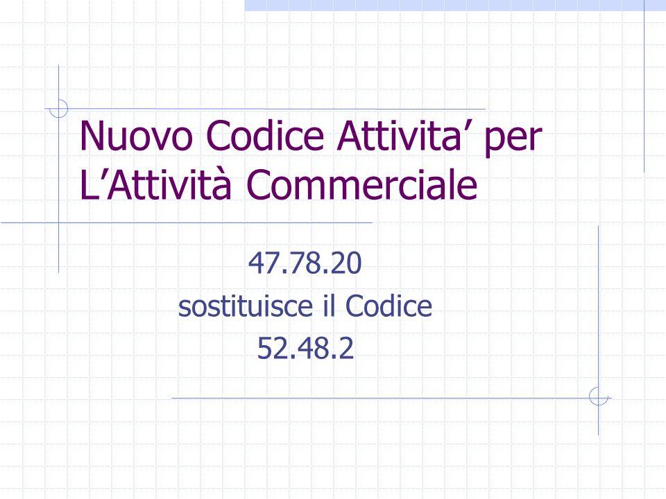 Nuovo Codice Attivita per LAttività Commerciale 47.78.20 sostituisce il Codice 52.48.2