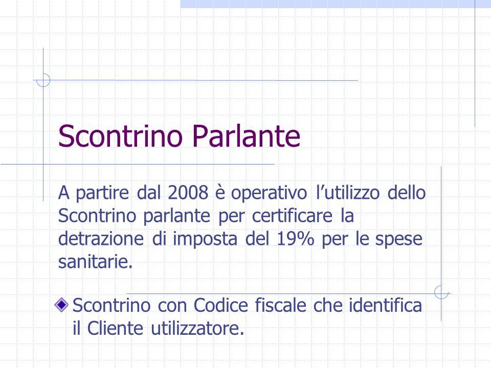 Scontrino Parlante A partire dal 2008 è operativo lutilizzo dello Scontrino parlante per certificare la detrazione di imposta del 19% per le spese san