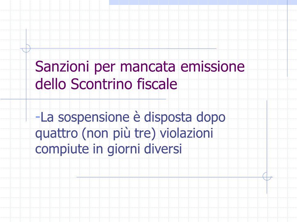 Sanzioni per mancata emissione dello Scontrino fiscale - La sospensione è disposta dopo quattro (non più tre) violazioni compiute in giorni diversi
