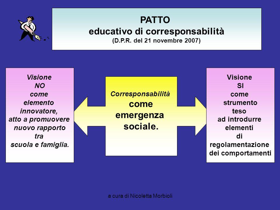a cura di Nicoletta Morbioli PATTO educativo di corresponsabilità (D.P.R. del 21 novembre 2007) Corresponsabilità come emergenza sociale. Visione NO c