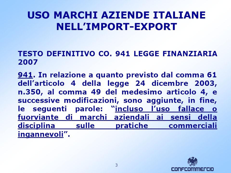 2 USO MARCHI AZIENDE ITALIANE NELLIMPORT-EXPORT PROPOSTA LULLI C1535 (1.8.2006) Modifiche al comma 49 dellarticolo 4 della Legge 24 dicembre 2003, n.