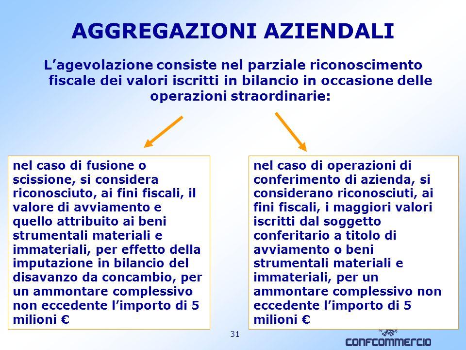 30 AGGREGAZIONI AZIENDALI AGEVOLAZIONE FISCALE PER LE SOCIETÀ DI CAPITALI CHE RISULTANO DA OPERAZIONI DI FUSIONE, SCISSIONE, CONFERIMENTO DAZIENDA (ATTUATE NEGLI ANNI SOLARI 2007 E 2008) Nel caso di conferimenti di azienda, lagevolazione si applica anche ai conferimenti posti in essere, nellesercizio dimpresa commerciale, da soggetti diversi (imprenditori individuali, società di persone), purché il soggetto conferitario sia una società di capitali.