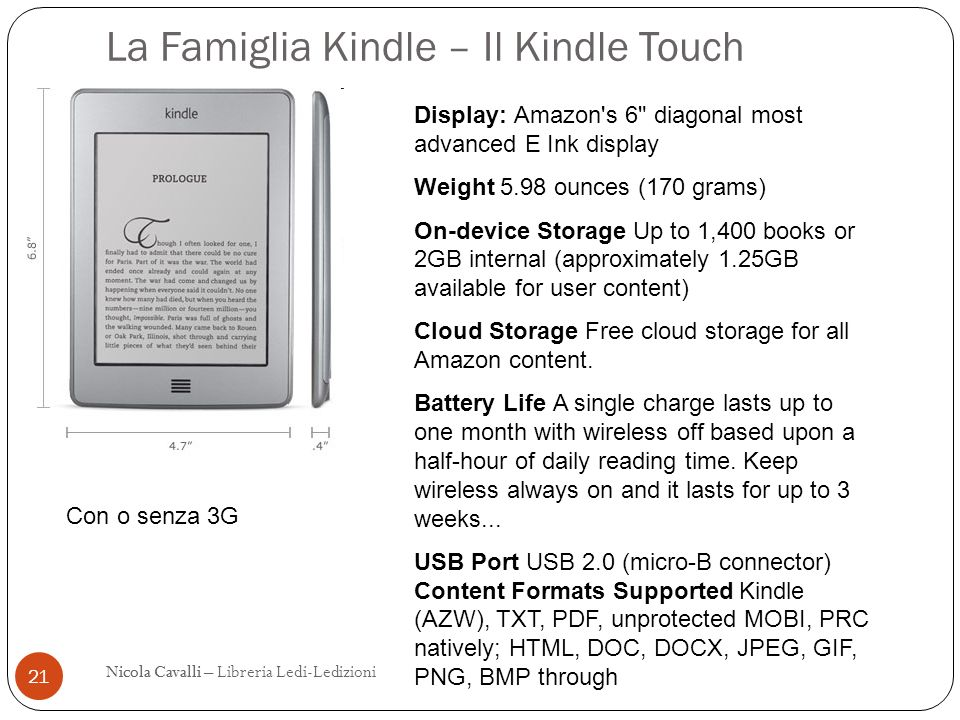 La Famiglia Kindle – Il Kindle Touch 21 Nicola CavalliNicola Cavalli – Libreria Ledi-Ledizioni Display: Amazon's 6