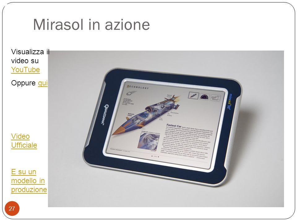 Mirasol in azione Annulla le barriere temporali 27 Visualizza il video su YouTube YouTube Oppure quiqui Video Ufficiale E su un modello in produzione