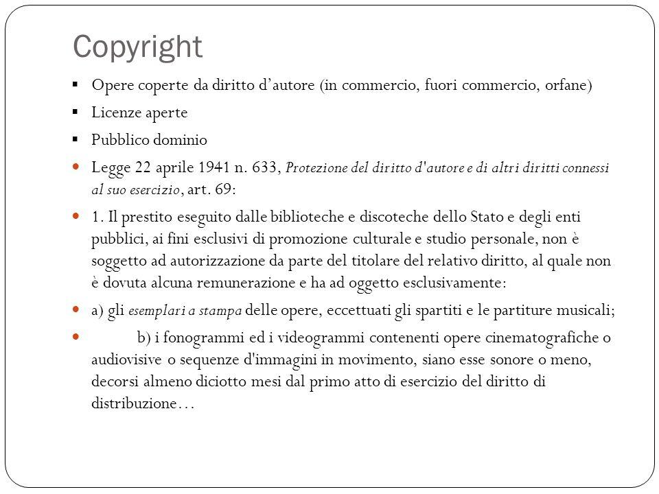Copyright Opere coperte da diritto dautore (in commercio, fuori commercio, orfane) Licenze aperte Pubblico dominio Legge 22 aprile 1941 n.