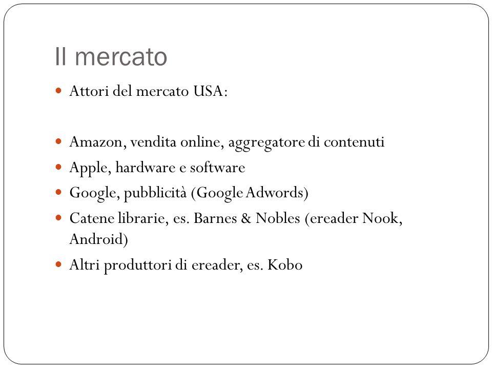 Il mercato Attori del mercato USA: Amazon, vendita online, aggregatore di contenuti Apple, hardware e software Google, pubblicità (Google Adwords) Catene librarie, es.