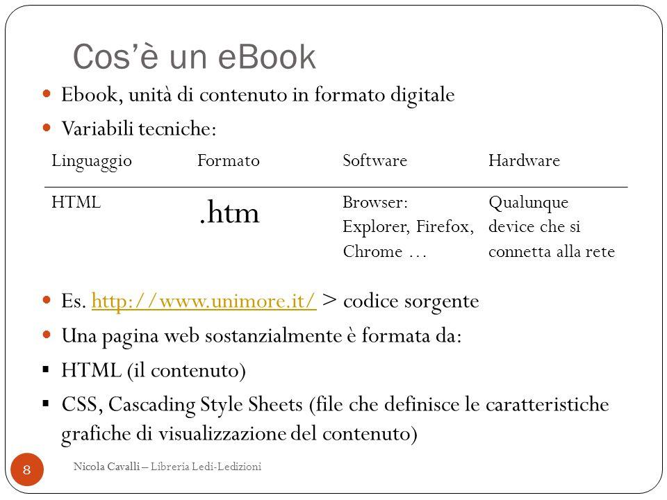Cosè un eBook 8 Nicola CavalliNicola Cavalli – Libreria Ledi-Ledizioni Ebook, unità di contenuto in formato digitale Variabili tecniche: Es.