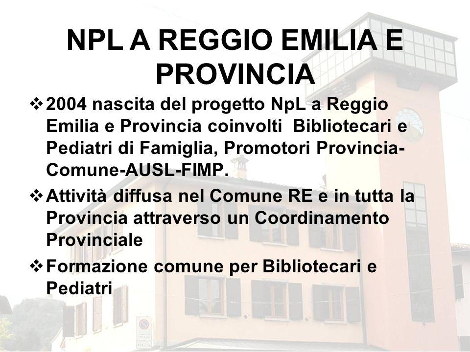 2004 nascita del progetto NpL a Reggio Emilia e Provincia coinvolti Bibliotecari e Pediatri di Famiglia, Promotori Provincia- Comune-AUSL-FIMP. Attivi