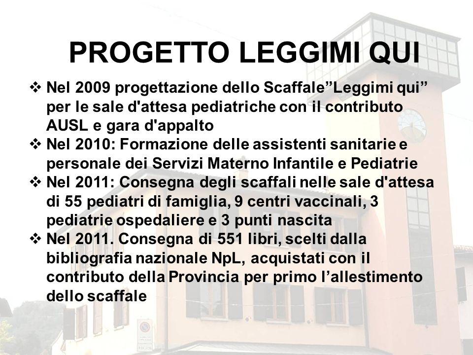 PROGETTO LEGGIMI QUI Nel 2009 progettazione dello ScaffaleLeggimi qui per le sale d'attesa pediatriche con il contributo AUSL e gara d'appalto Nel 201