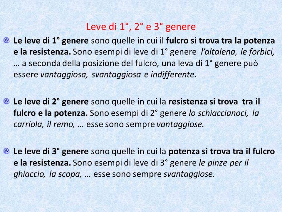 Leve di 1°, 2° e 3° genere Le leve di 1° genere sono quelle in cui il fulcro si trova tra la potenza e la resistenza. Sono esempi di leve di 1° genere