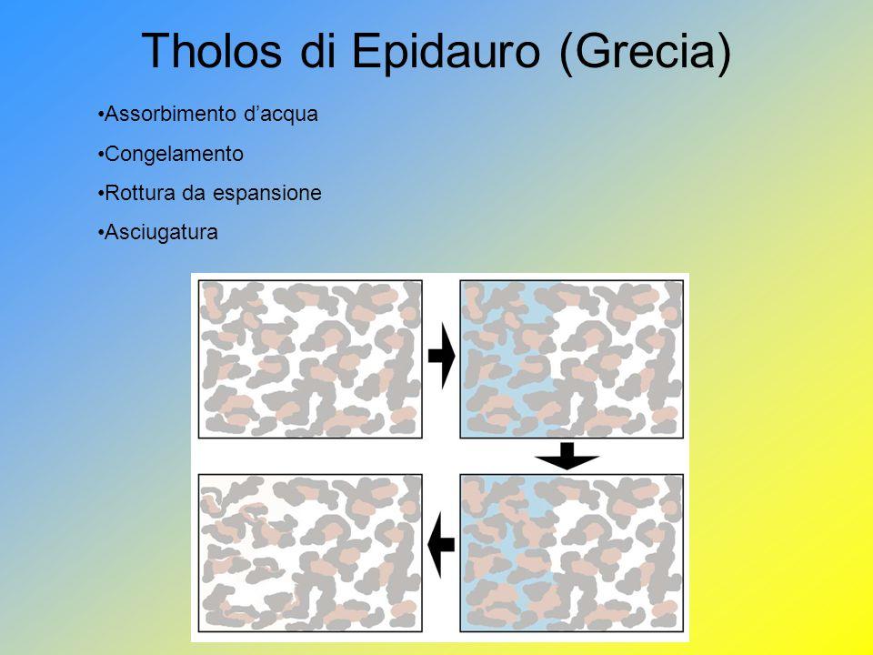 Tholos di Epidauro (Grecia) Assorbimento dacqua Congelamento Rottura da espansione Asciugatura