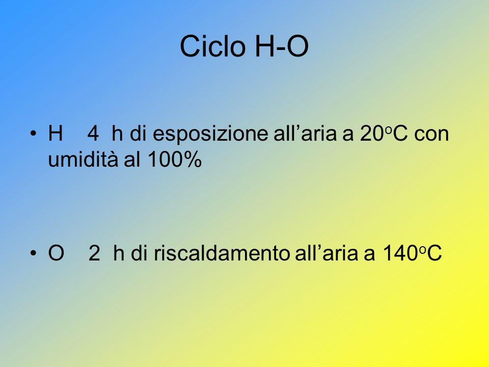 Ciclo H-O H 4 h di esposizione allaria a 20 o C con umidità al 100% O 2 h di riscaldamento allaria a 140 o C