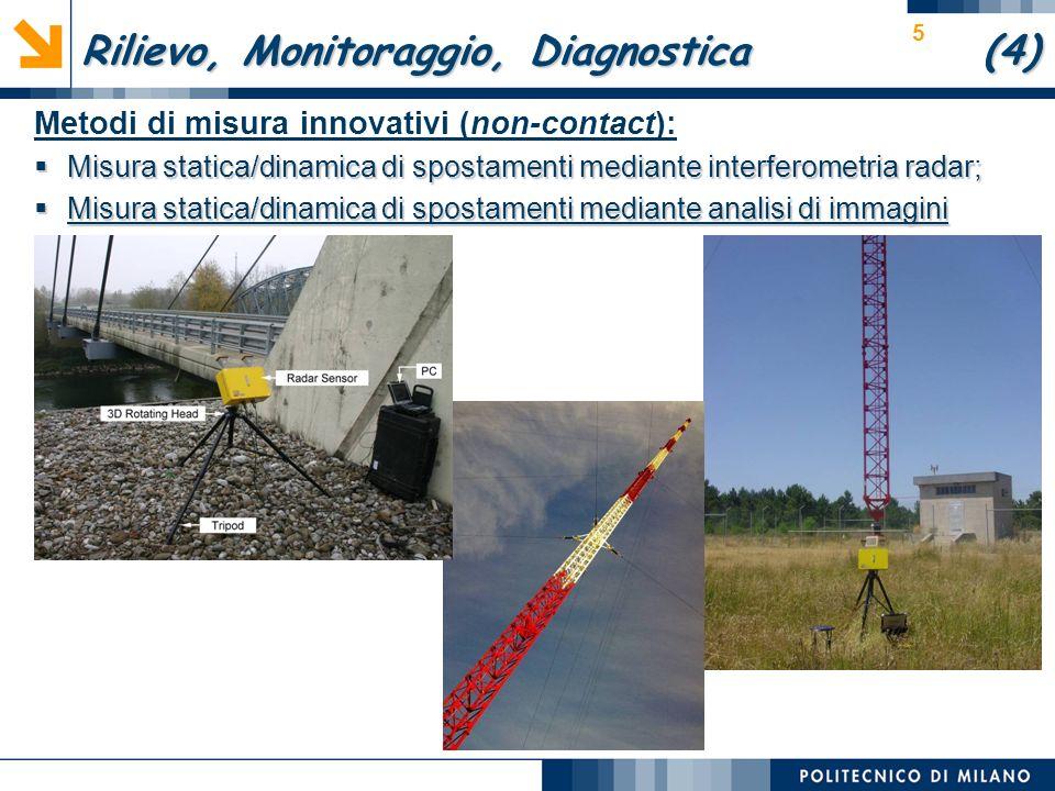 5 Metodi di misura innovativi (non-contact): Misura statica/dinamica di spostamenti mediante interferometria radar; Misura statica/dinamica di spostamenti mediante interferometria radar; Misura statica/dinamica di spostamenti mediante analisi di immagini Misura statica/dinamica di spostamenti mediante analisi di immagini Rilievo, Monitoraggio, Diagnostica (4)