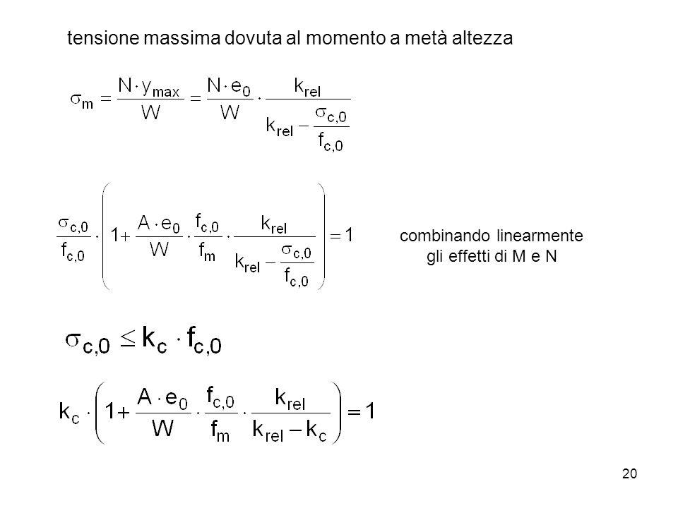 20 tensione massima dovuta al momento a metà altezza combinando linearmente gli effetti di M e N