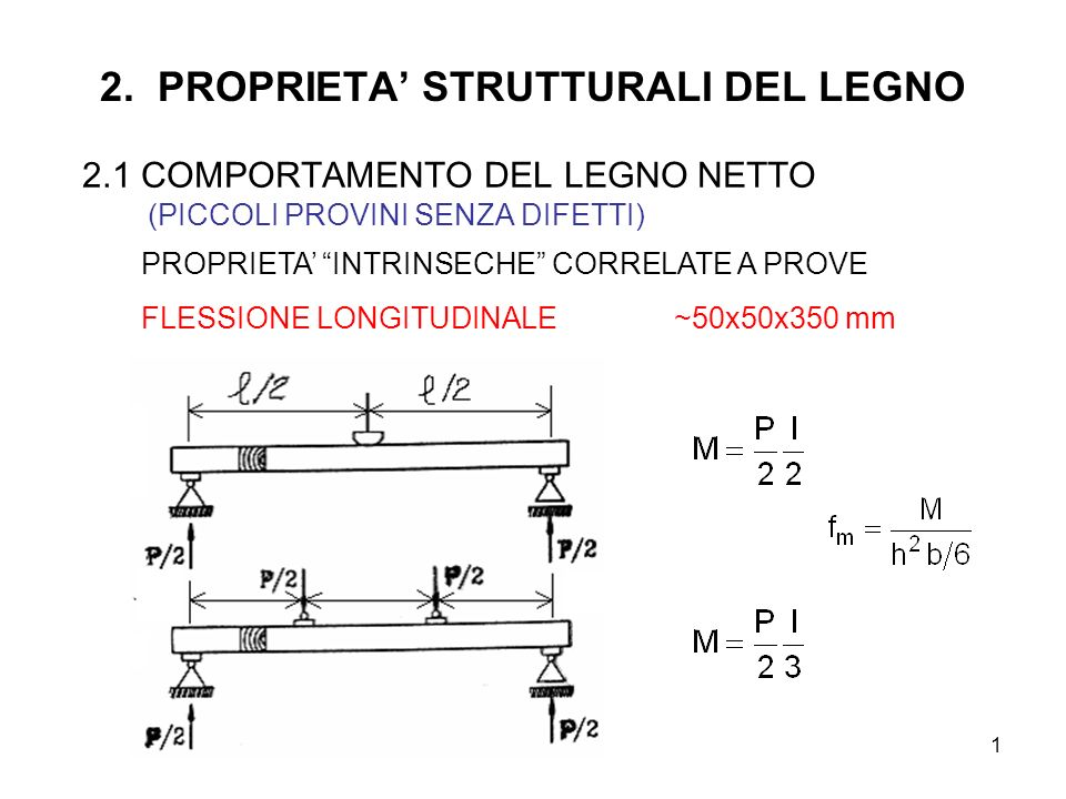 1 2. PROPRIETA STRUTTURALI DEL LEGNO 2.1 COMPORTAMENTO DEL LEGNO NETTO (PICCOLI PROVINI SENZA DIFETTI) PROPRIETA INTRINSECHE CORRELATE A PROVE FLESSIO
