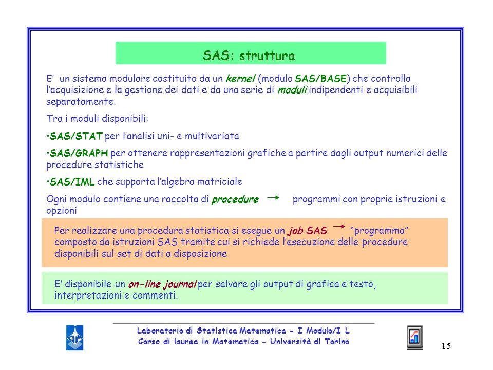 15 _________________________________________________ Laboratorio di Statistica Matematica - I Modulo/I L Corso di laurea in Matematica - Università di