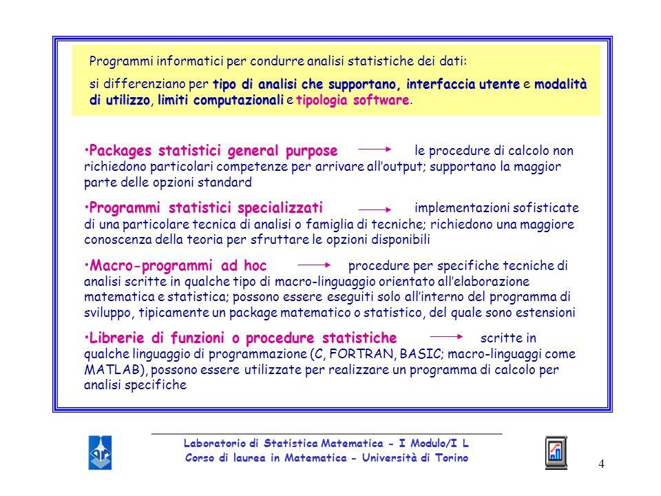 5 Tra i softwares disponibili: stesse funzioni statistiche di base buona possibilità di manipolare i dati e presentare e elaborare i risultati Considereremo MINITAB - SAS - SPSS - STATISTICA _________________________________________________ Laboratorio di Statistica Matematica - I Modulo/I L Corso di laurea in Matematica - Università di Torino MINITAB sistema bidimensionale: colonne/variabili; righe/casi creazione di nuove variabili a partire da C1, C2, C3, … tramite listruzione LET procedure statistiche predefinite da usare con elenco di colonne e parametri si possono inserire molti statements di aiuto (help) è interattivo si può salvare la sessione di lavoro in un file MINITAB per poi riprenderla successivamente