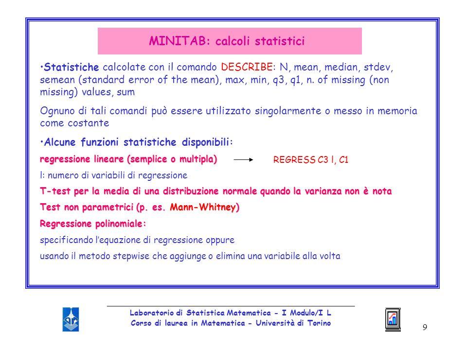 10 _________________________________________________ Laboratorio di Statistica Matematica - I Modulo/I L Corso di laurea in Matematica - Università di Torino SPSS1960s: Statistical Package for the Social Sciences SPSS-X1970s: SPSS-X esteso e ampliato SPSS/PCSPSS IncNorusis e SPSS Inc1980s: versione per PC (SPSS/PC) (SPSS Inc.