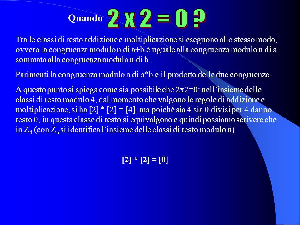 Quando Tra le classi di resto addizione e moltiplicazione si eseguono allo stesso modo, ovvero la congruenza modulo n di a+b è uguale alla congruenza