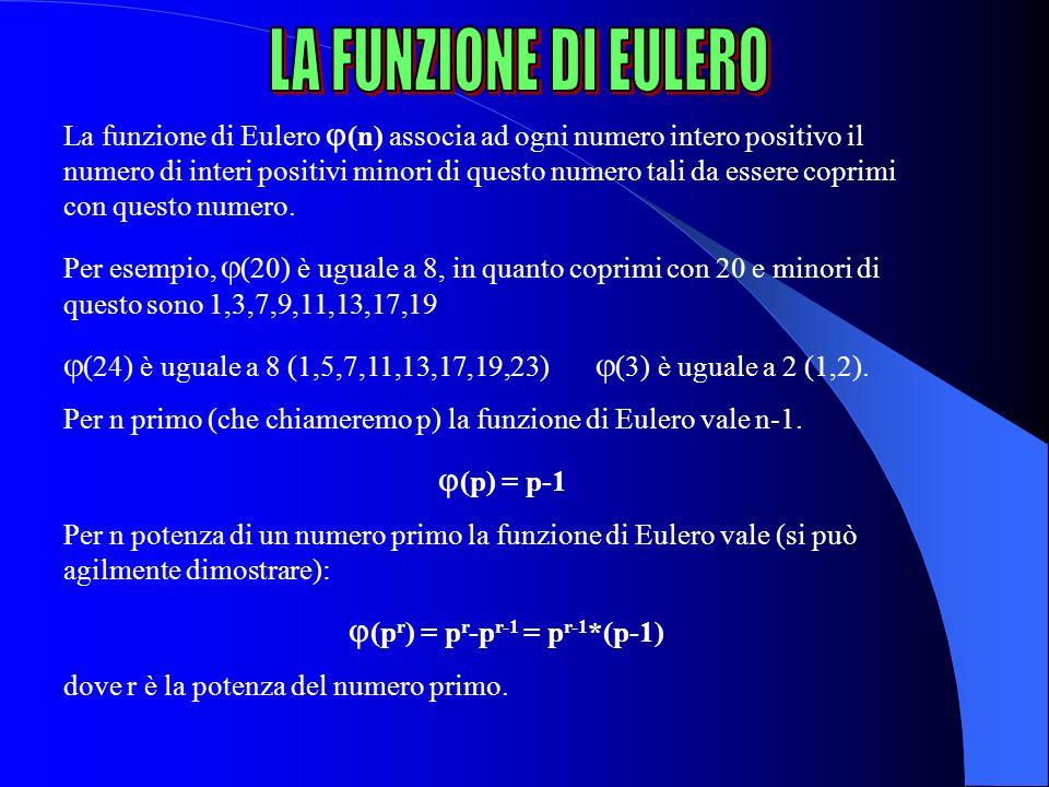 La funzione di Eulero (n) associa ad ogni numero intero positivo il numero di interi positivi minori di questo numero tali da essere coprimi con quest